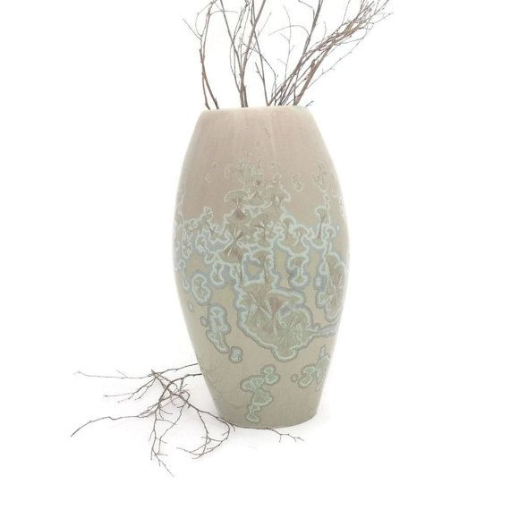 Ceramic Vase Crystal Glazed in Shades of Green by SunbirdPottery