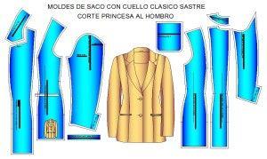 Moldes para costura de de saco princesa sastre con manga de una pieza y bolsas laterales de ojal
