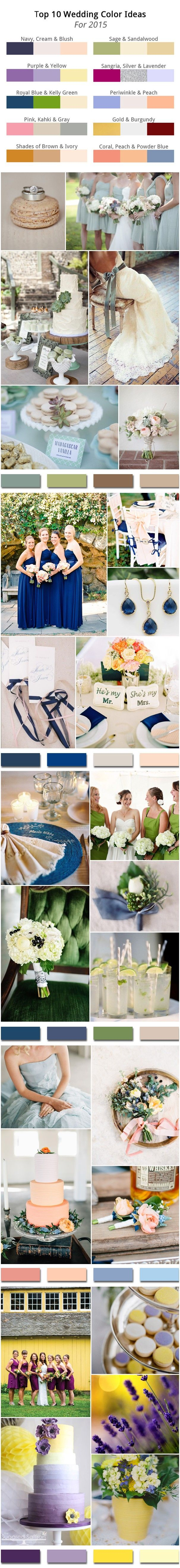 Top 10 Wedding Color Ideas for 2015 Trends #elegantweddinginvites #wedding colors
