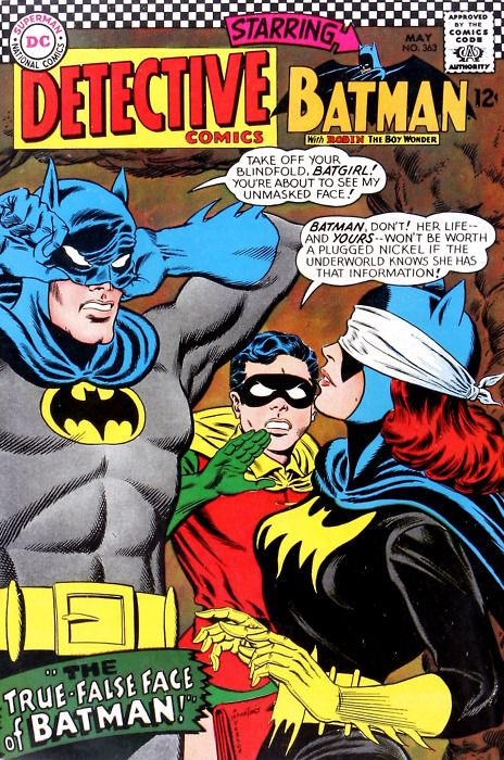 Classic Detective Comics cover by Carmine Infantino, with the Dynamic Duo plus a blindfolded Batgirl.