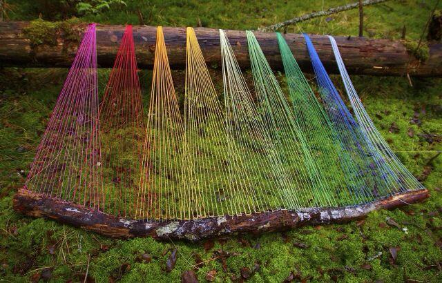 Norwegian forest • twig • yarn - inspired by Gabriel Dawe