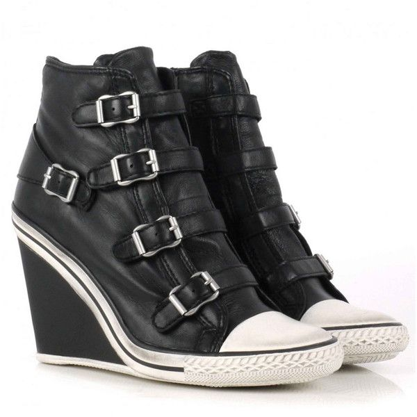 Ash Thelma Wedge Buckle Trainers - Black ($230) ❤ liked on Polyvore featuring shoes, sneakers, converse, heels, black, wedge heel shoes, wedges shoes, ash sneakers, sports trainer and leather wedge sneakers