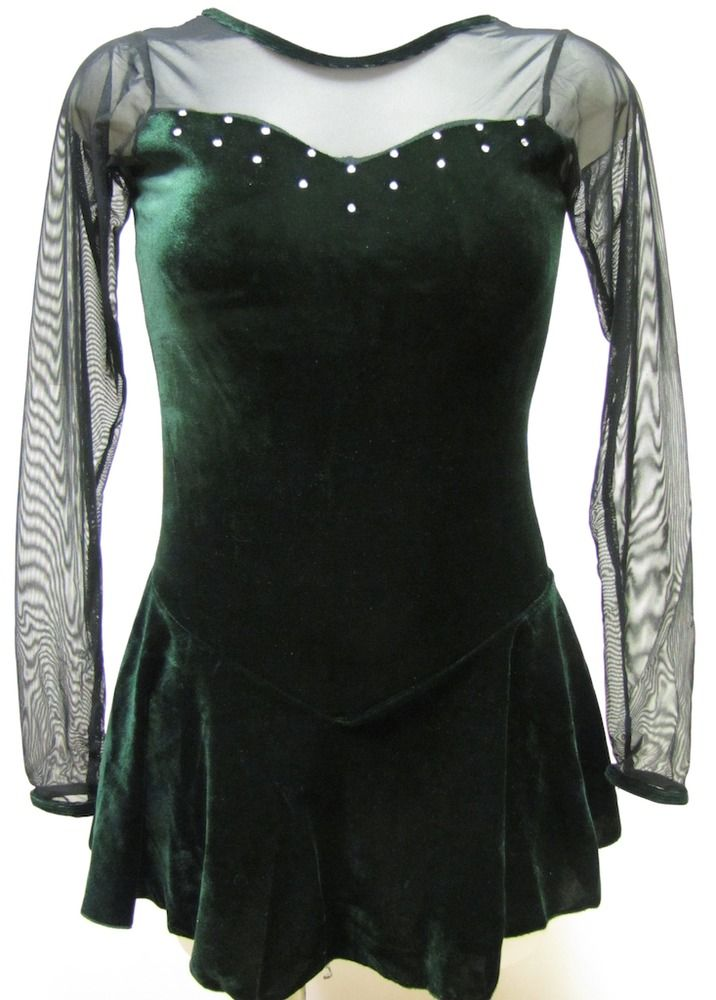 Green Velvet & Long Sheer Sleeves Ice Figure Skating Competition Dress Adult S #FlyingCamelDesigns