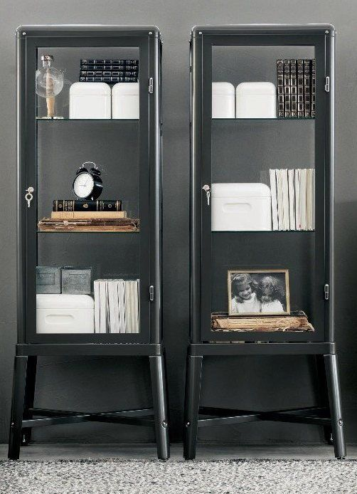 Show off your entire glassware collection with two side-by-side FABRIKÖR glass-door cabinets