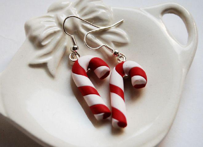 Orecchini Natale Bastoncino di zucchero in fimo