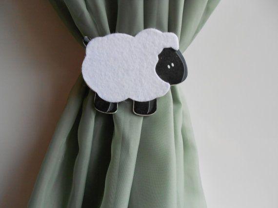 Sheep Curtain Tie Back  Nursery Decor  Baby Room by TonyaandJoshua, $13.80