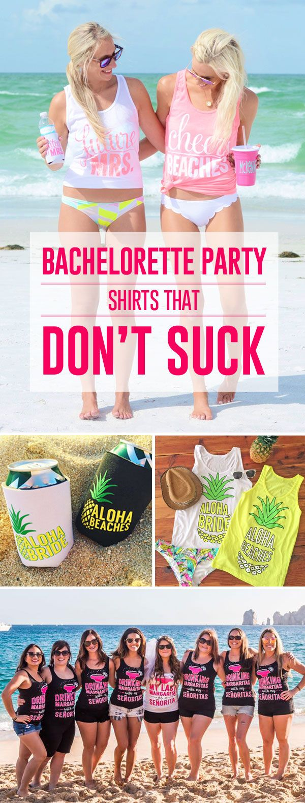 Our bachelorette shirts are as witty as they are adorable! Lots of colors and styles! Make your bachelorette party legendary with our fun and flattering shirts and accessories!