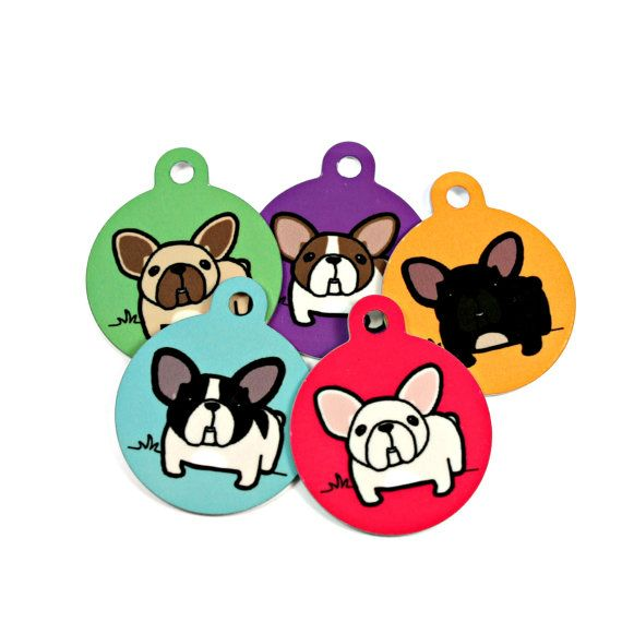 French Bulldog Pet ID Dog Tags With 50% Donation to French Bulldog Rescue Network FBRN