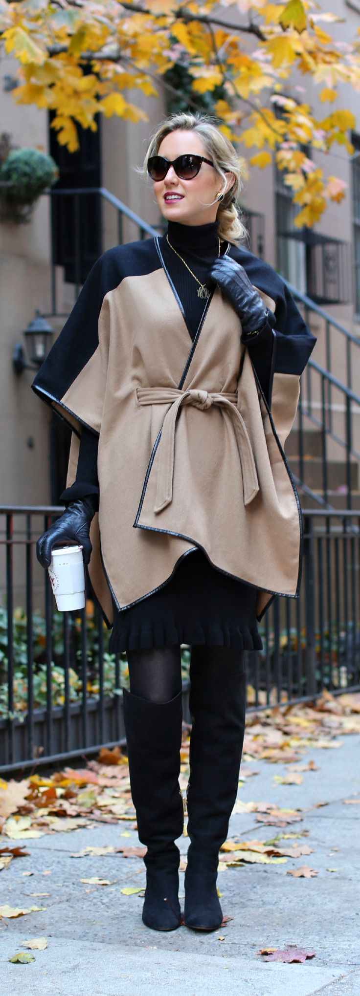 The Classy Cubicle: Caped {ann taylor, michael kors, ralph lauren, work wear, women's, corporate fashion, office style, over the knee boots, turtleneck sweater dress, cat eye sunglasses}