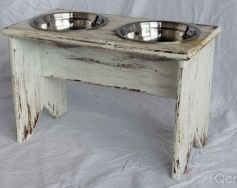 Wooden Elevated Pet Feeder One Raised Bowl by fqcrafts on Etsy