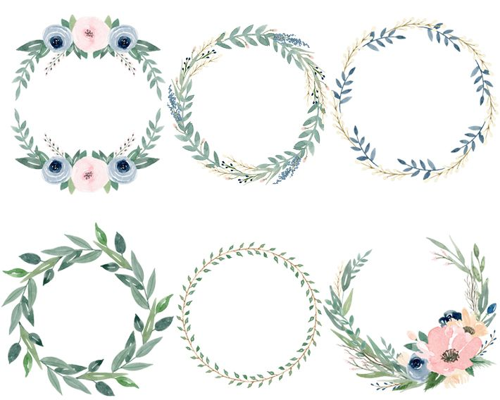 6 Free Beautiful Watercolor Flower Wreaths Watercolor Flower