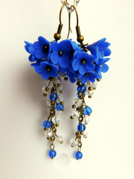 Cute Blue Floral Cluster Earrings. Dangle Earrings Glass and Clay
