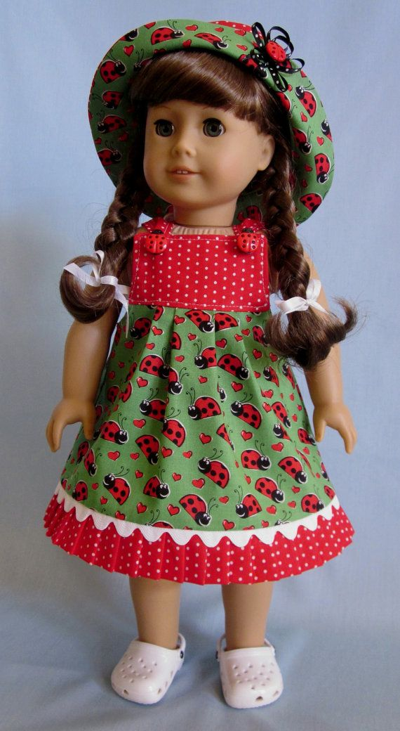 American Girl Doll Clothes  - Sundress and Hat in Red Lovebug Print