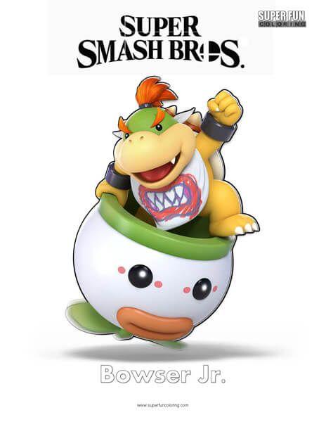 Bowser Jr Super Smash Bros Ultimate Nintendo Coloring Page - Super-smash-bros-coloring-pages