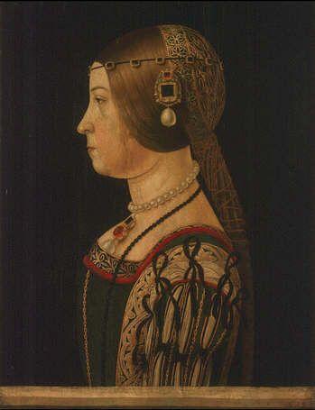 Barbara Pallavicino, by Alessandro Araldi, done in 1495, Uffizi Gallery, Florence