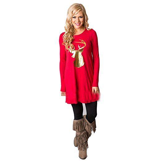 Weihnachten Kleid Rosennie Frau Runden Halsband Elch Beiläufig Kleid (XL, Rot)