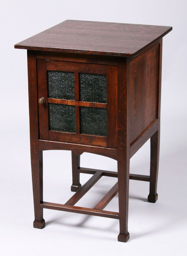 "English Arts & Crafts nightstand with MacMurdo style feet | 31.5""h x 19.5""w x 21""d"