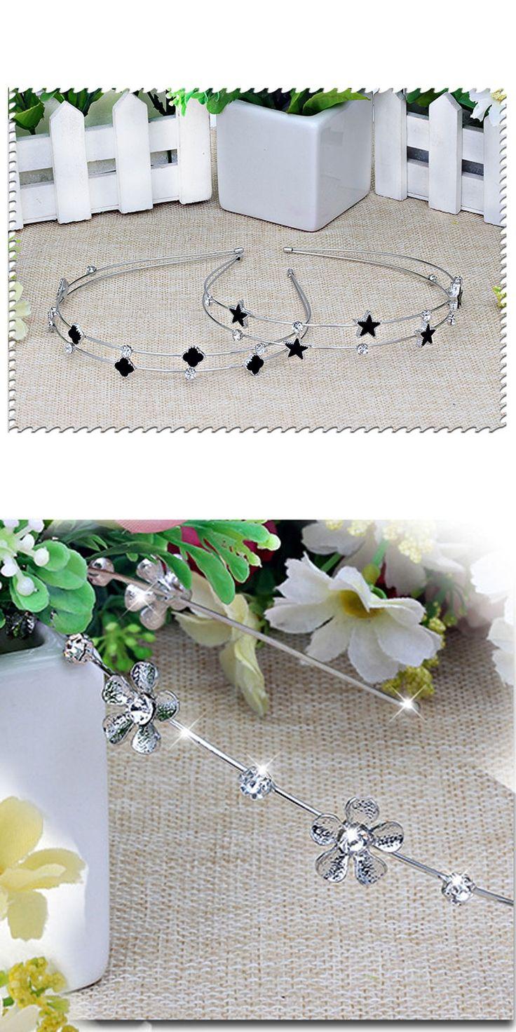 Black Clover Double Headband Princess Simulated Pearls Hairbands Hair Band Hair Accessories for Women Headwear Wedding