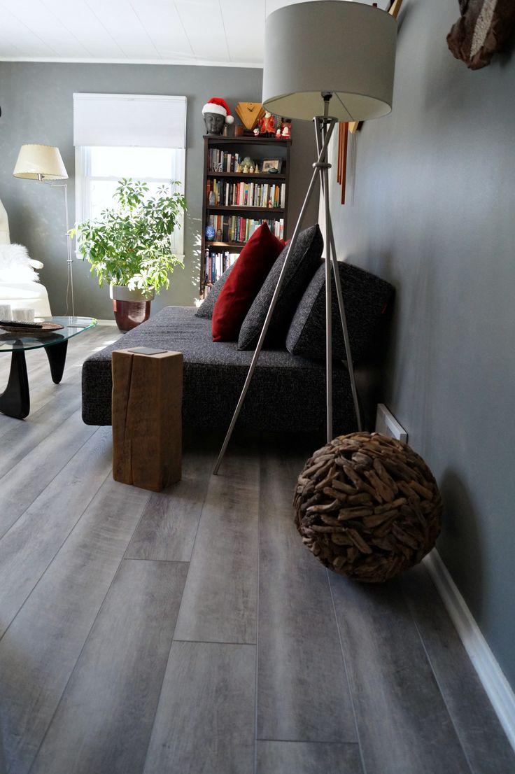 Etienne de souza designer and manufacturer of luxury cabinet - Coretec Hd Mont Blanc Driftwood Luxury Vinyl Plank In A Midcentury Modern Living Room