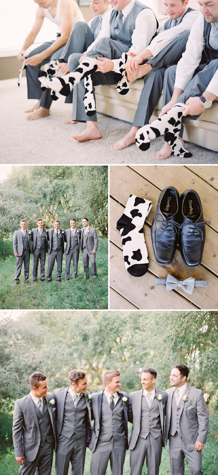 Absolutely love these cow printed groomsmen socks! Such a cute way to incorporate the dairy farm theme!  Blush Alberta Dairy Farm Wedding • Bummed Bride
