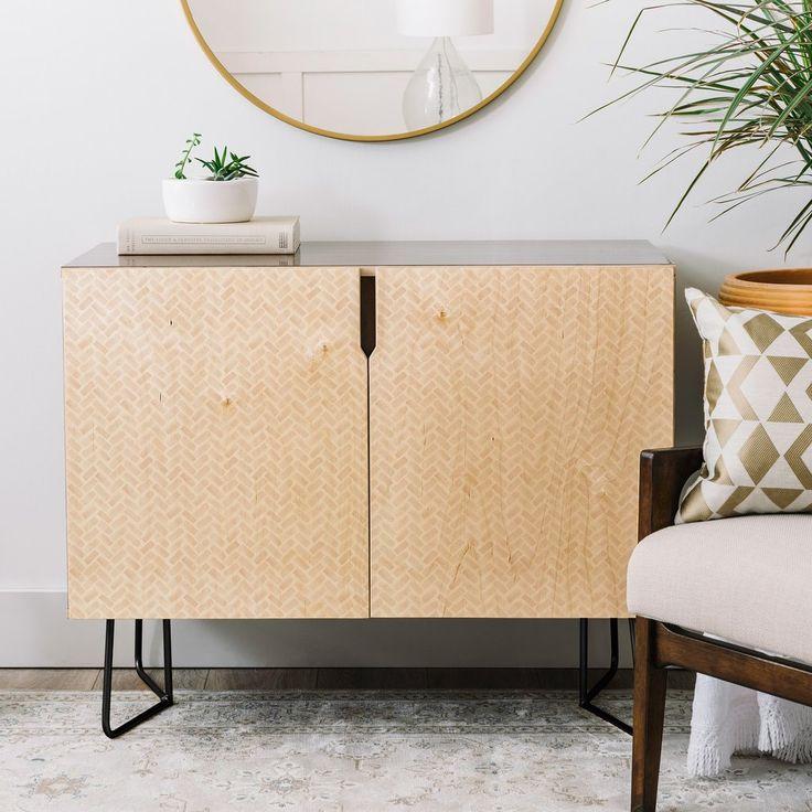 Little Arrow Design Co arcadia herringbone in blush Credenza | DENY Designs Home Accessories