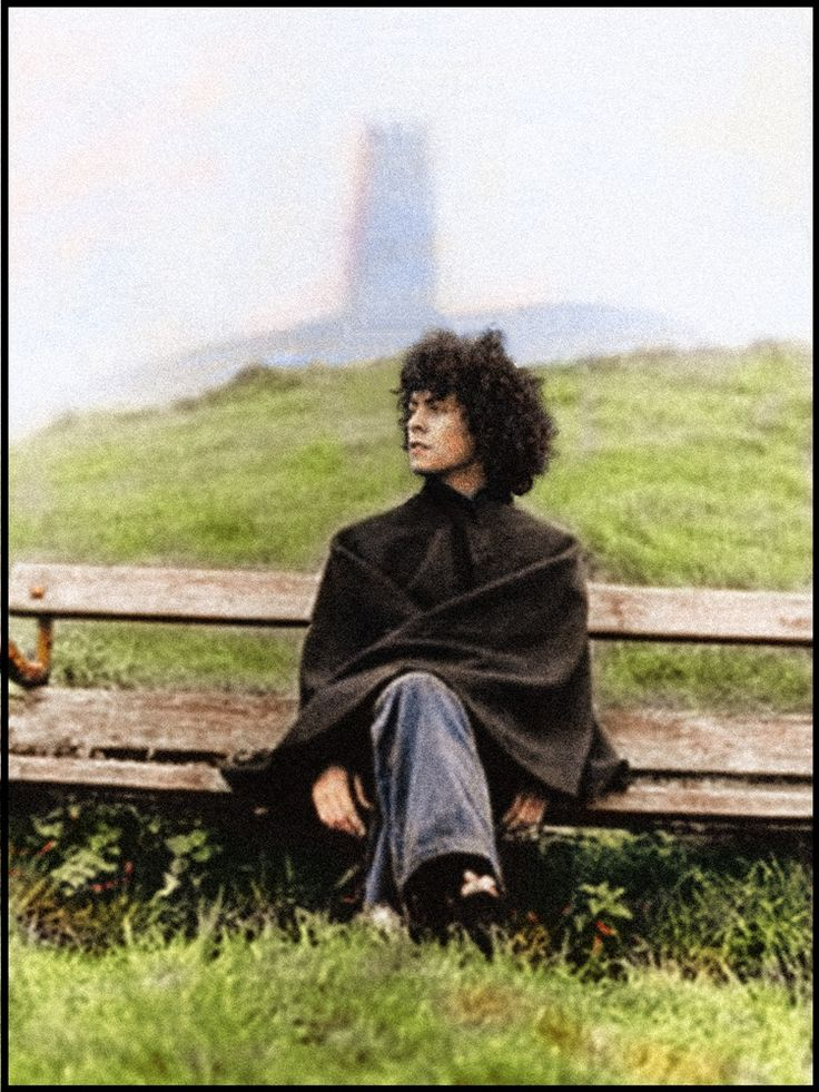 Marc at Glastonbury Tor, 1968. Colorized.