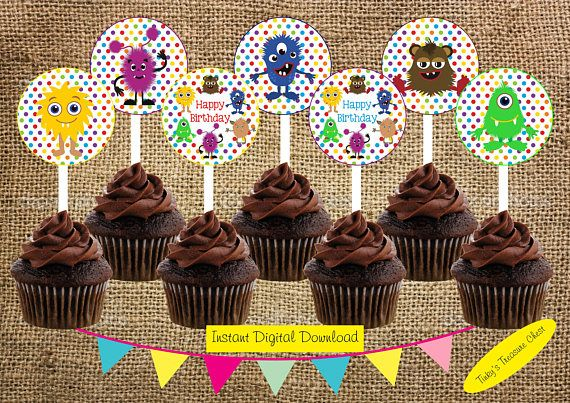 Monster Party Cupcake Toppers. Instant Download Digital File.