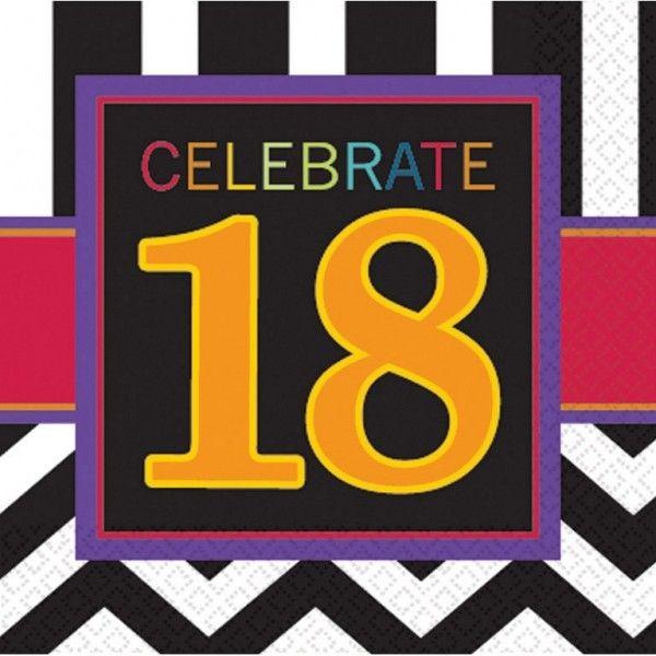 Poze 16 Servetele Majorat 18 ani Chevron Birthday