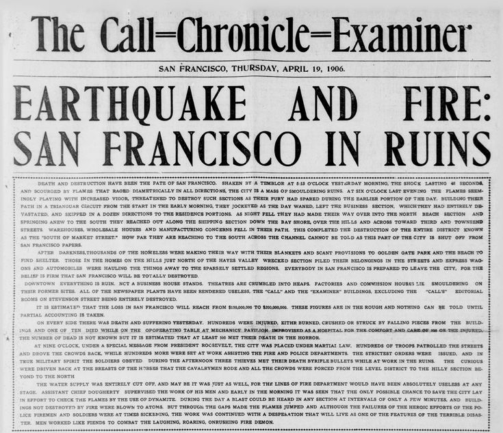 Call-Chronicle-Examiner after 1906 San Francisco earthquake front page news