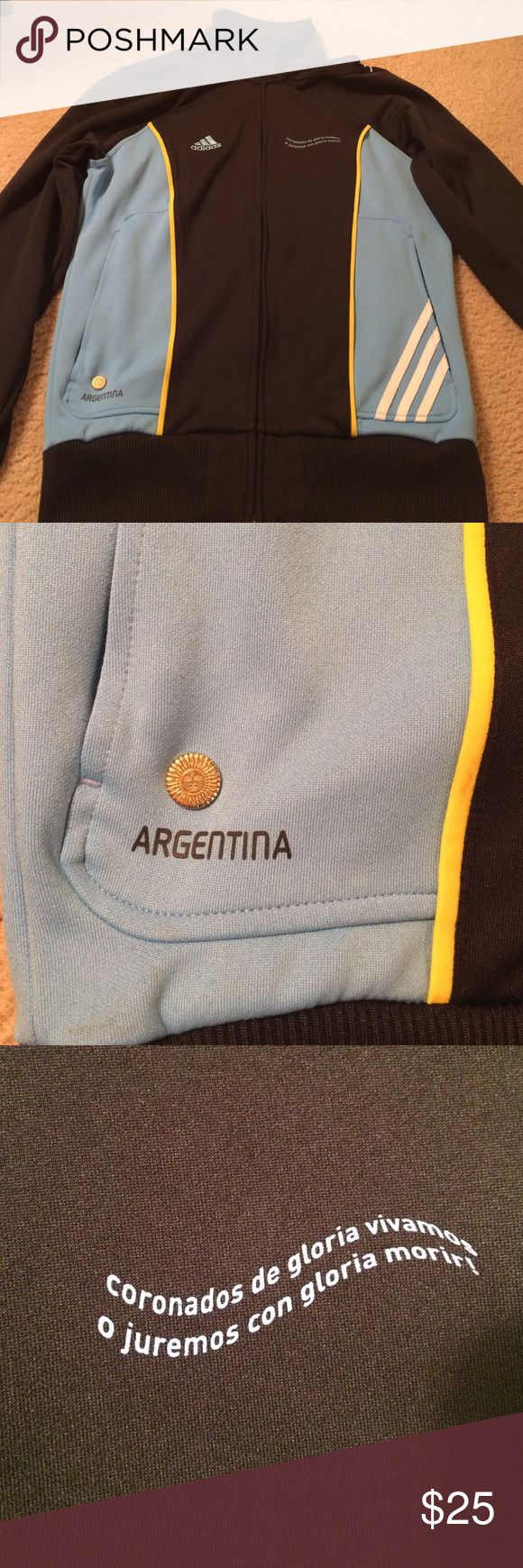 Argentina team soccer zip up jacket, sz small Argentina team soccer zip up jacket, sz small, no trades, excellent condition! This jacket is from 2010 South Africa World Cup! Can be used by a male or female, but the size small is for male, possibly a medium or large in women's. Argentina soccer Jackets & Coats Utility Jackets