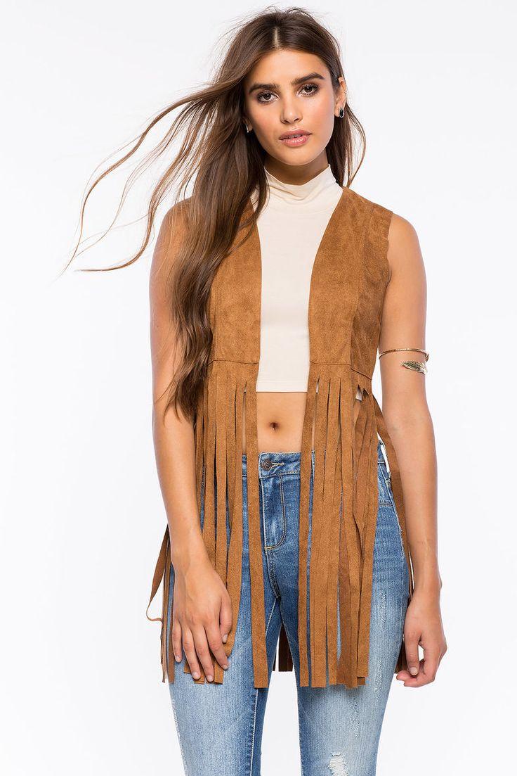 A'GACI   Vanessa Suede Fringe Vest  #agaci