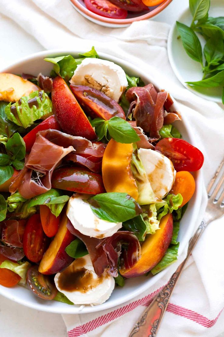 Summery Nectarine Goat Cheese Salad with Colorful Tomatoes