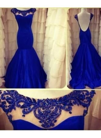 2014 royal Blue Evening Dresses Jewel Backless Long Sleeves Lace Sheer Mermaid Satin Ruffles Appliques Flowers Prom Gown