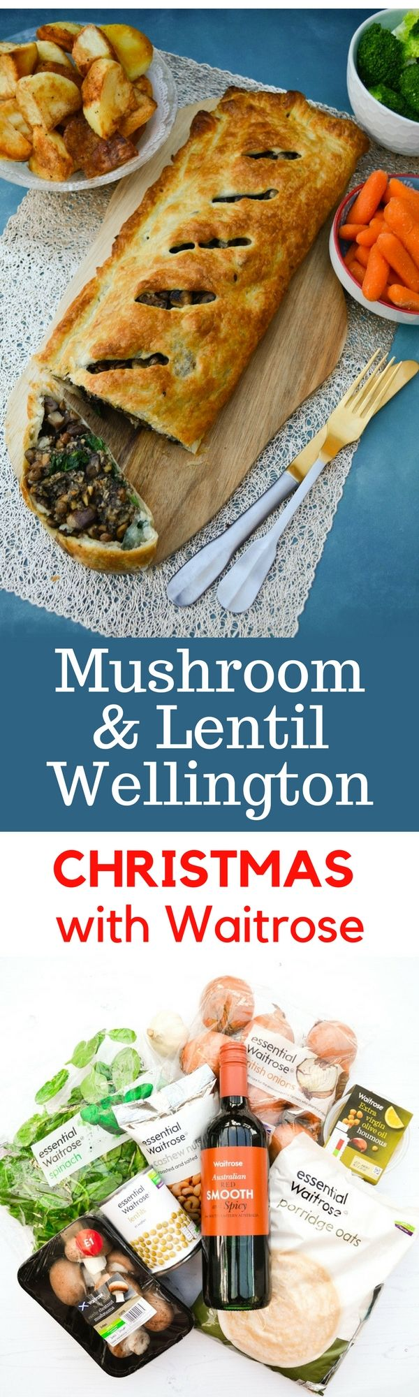 This puff pastry pie is a twist on the traditional beef wellington and it is the perfect vegetarian or vegan Christmas main course.This golden puff pastry pie is layered with hummus, spinach, mushroom and cashew nut pate and a mixture of succulent thyme flavoured mushrooms and lentils. Serve it up with roast potatoes, a selection of vegetables and a rich onion gravy. #christmastogether #vegan #veganwellington #veganchristmas #veganchristmasdinner #christmasdinner #mushroomwellington…