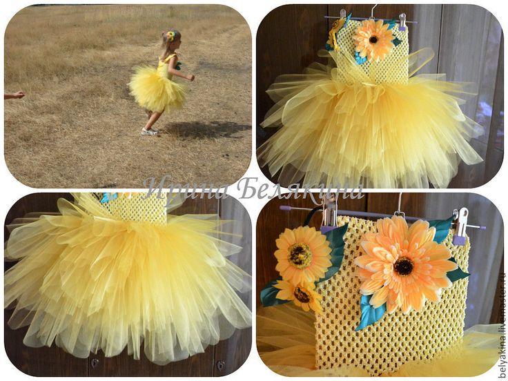 """Купить Платье tutu """"Подсолнухи"""" - жёлтый, подсолнухи, tutu, tutu dress, платье-пачка"""