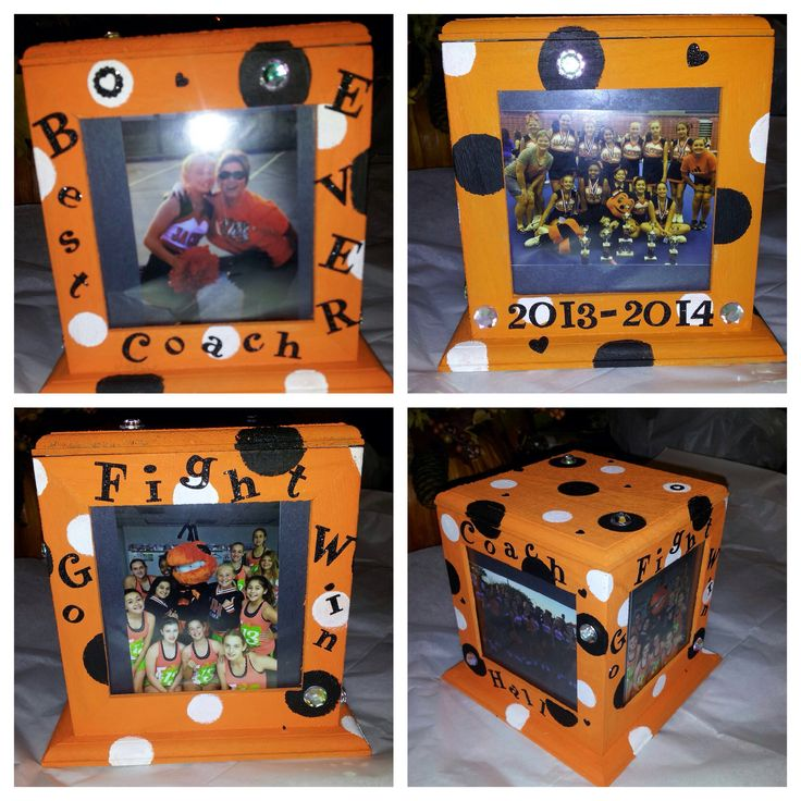 Wood cube picture frame! Birthday present!   Bought a wood picture frame, painted orange, added black & white polka dots. Added glittery letters & jewels. Printed our wallet size photos, taped on black paper, put them in each spot. Too cute!!
