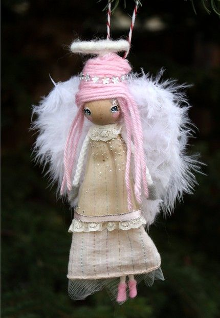 Pink Angel---Wooden Handmade Tree Ornament