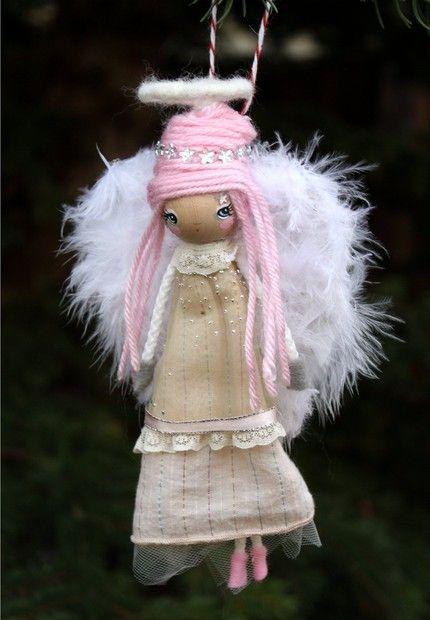 Pink Angel---Wooden Handmade Tree Ornament