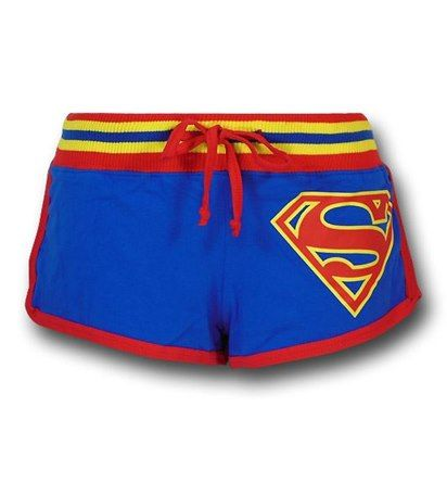 Images of Superman Women's Striped Logo Short Shorts