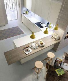 Separar la cocina de la sala con una barra. Barra de cocina para separar visualmente la cocina de la sala.