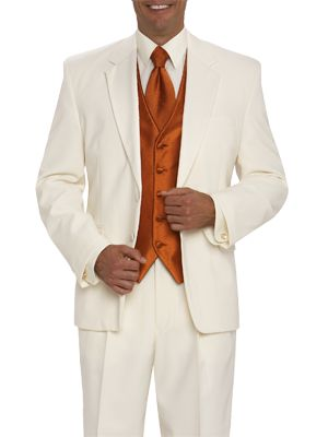 MOORES : clothing for men: tuxedo rental (minus the ugly orange vest and tie). Whether you're jet setting to a destination wedding or cruising the Caribbean, this Joseph & Feiss two-button, nonvented ivory tuxedo is the ultimate formal ensemble to take with you. Featuring flap pockets and a poly/wool blend, this jacket can be paired with black pants for a dinner party or ivory pants for a beach or summer wedding.
