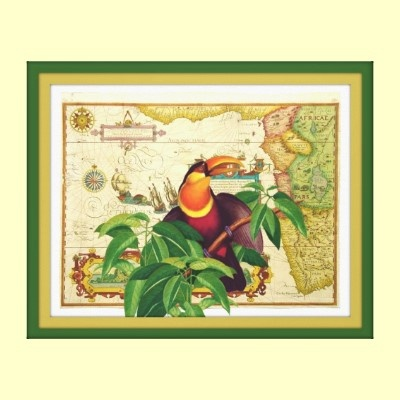 Toucan by seaskys original digital collage wrapped canvas print