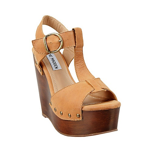 WYLIEE COGNAC LEATHER women's sandal high wedge - Steve Madden
