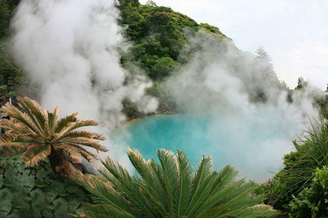 """Aguas termales Umi Jigoku, en Beppu, también conocidas como """"infiernos""""."""