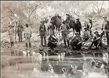 The Horn Scientific Exploration Expedition party at Abminga Waterhole, northern South Australia, 1894. South Australian Museum Archives