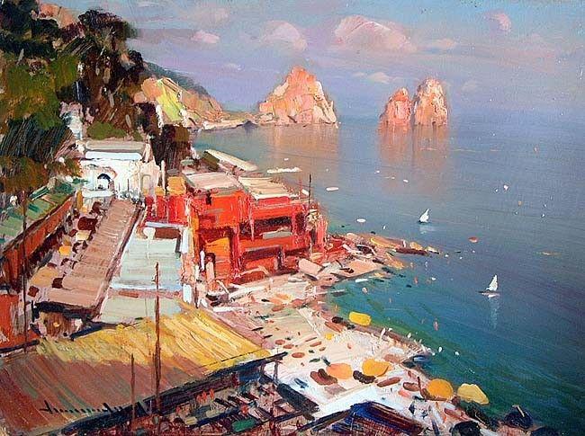 Marina Piccola, Capri oil painting - Vincenzo Aprile Coast