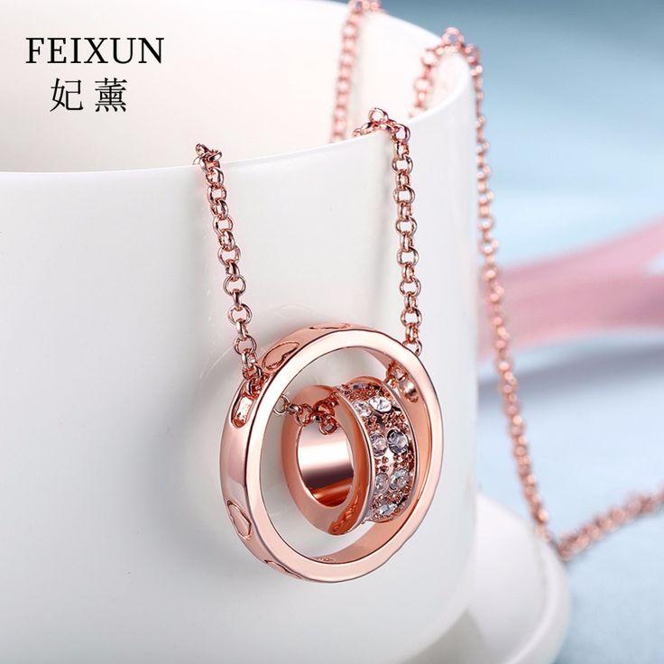 Collier Femme Pendant Rose Gold Statement Necklaces Maxi Necklace Crystal Collier Femme 2016 ras de cou Acier For Women N029