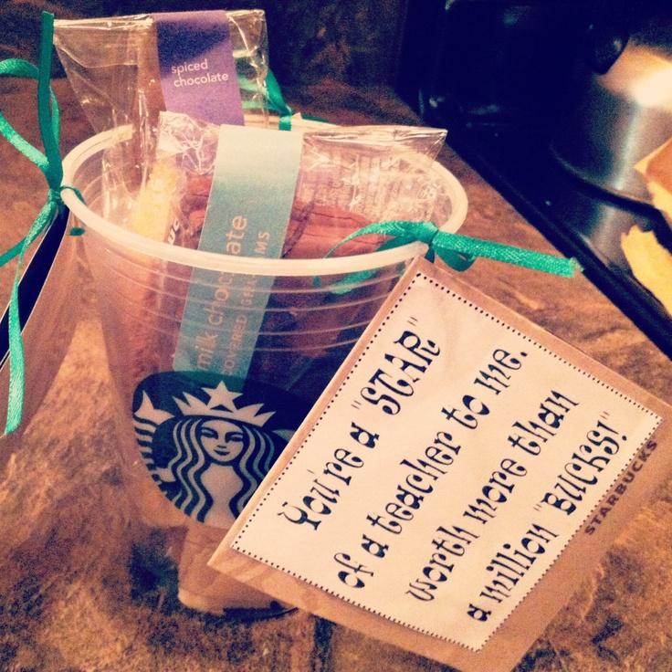 Teacher Appreciation Week gift idea: Starbucks gift card and biscotti