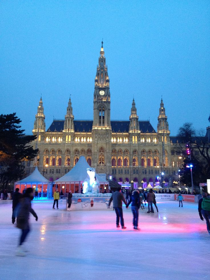 Ice skating in the historic center of Vienna, Austria - a UNESCO World Heritage area.
