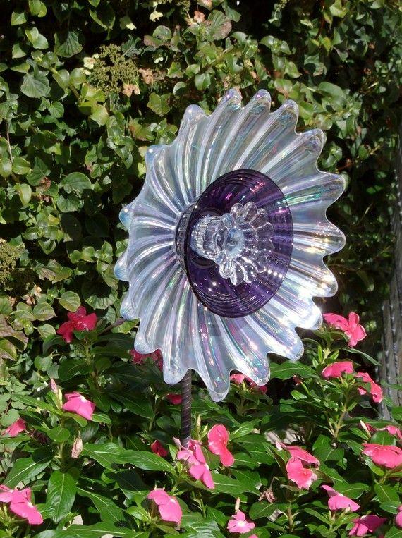 Glass Yard Art Glue | Glass Flower Yard Art Garden Decor Moonglow By  Jarmfarm On Etsy